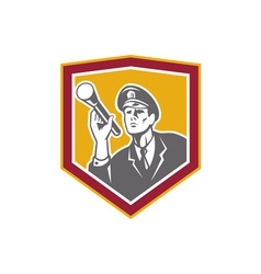 Security Guard With Flashlight Shield Retro vector image vector image