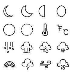 weather and moon icons symbol vector image vector image