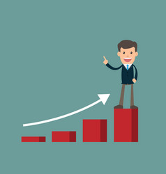 businessman success standing on graph looking vector image vector image