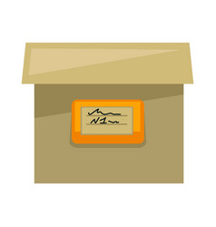 Cardboard box with sign on side isolated vector
