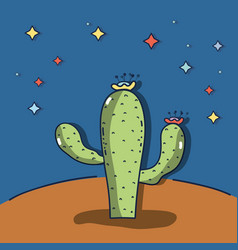 desert landscape with a cactus in a beautiful vector image