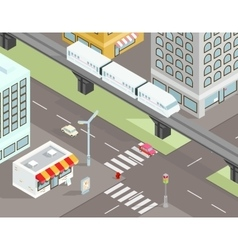 Isometric city street with transport vector image