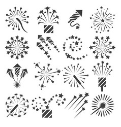 firework icons party signs vector image