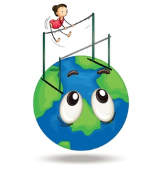 Girl and earth vector image vector image