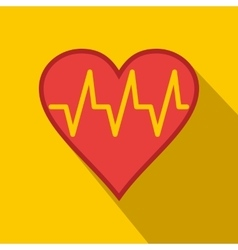 Heartbeat flat icon vector image vector image