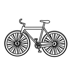 monochrome silhouette with sport bicycle vector image vector image