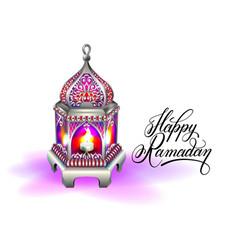 ramadan kareem greeting card with silver red vector image vector image