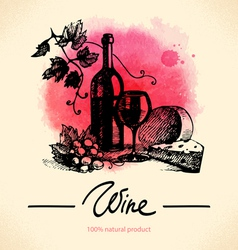 Wine vintage background Watercolor hand drawn vector image