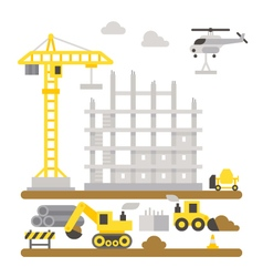 Construction site machineries flat design vector image