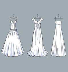 a set of the white dresses for a celebration vector image