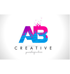 Ab a b letter logo with shattered broken blue vector
