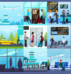 airport express compositions set vector image