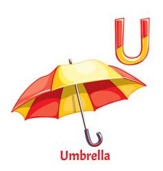 Alphabet letter u umbrella vector