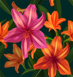 amaryllis seamless pattern Converted vector image
