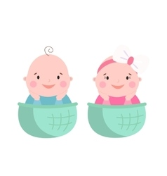 Baby twins smile face vector