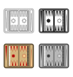 backgammon icon in cartoon style isolated on white vector image