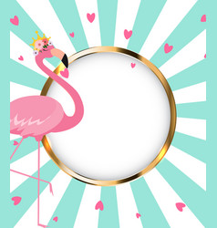 Beautiful little princess pink flamingo in golden vector