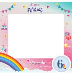 Birthday photobooth frame vector