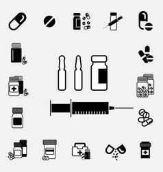 Black and white syringe icon vector