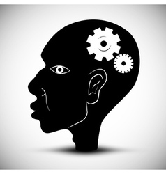 Black Man Head With Cogs - Gears vector image