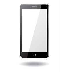 black smartphone on white background vector image