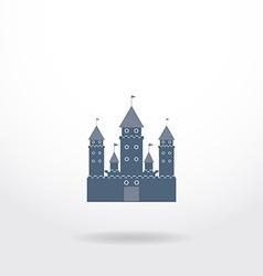 blue castle silhouette logo on white background vector image