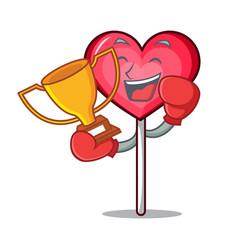 Boxing winner heart lollipop mascot cartoon vector