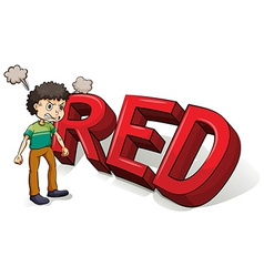 Boy beside the big red letters vector image