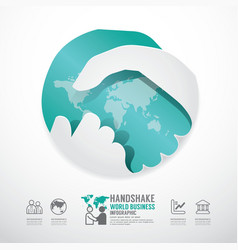 Business handshake business with world paper style vector