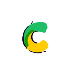 C letter logo handwritten with a multicolor vector
