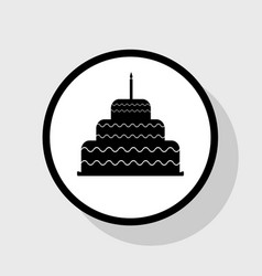 Cake with candle sign flat black icon in vector