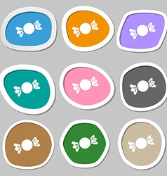 Candy icon symbols multicolored paper stickers vector