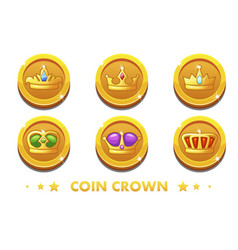 cartoon gold coins with the emblem crown vector image
