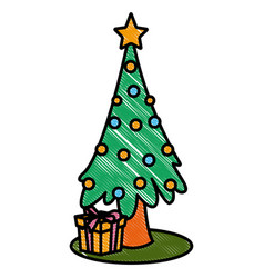 christmas tree with giftboxes vector image