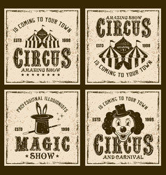 circus show four colored vintage emblems vector image