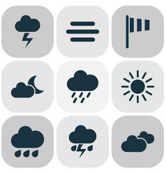 Climate icons set collection of weather rainy vector