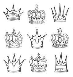 Crown various hand draw collection vector