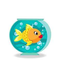Cute cartoon goldfish in fishbowl isolated on vector