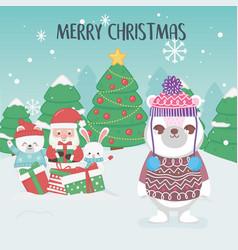 cute santa polar bears trees merry christmas vector image