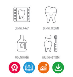 Dental crown x-ray and brushing teeth icons vector
