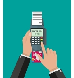 Enters pin code for card on pos terminal vector
