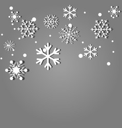 falling snowflakes on gray background vector image