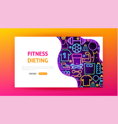 fitness neon landing page vector image