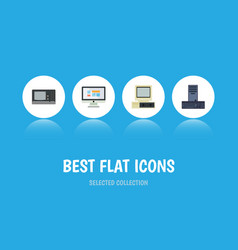 flat icon laptop set of computer display vintage vector image