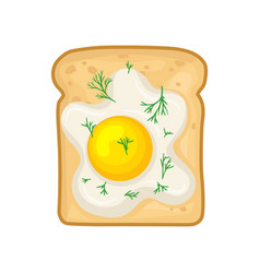 Flat icon of tasty sandwich with fried egg vector