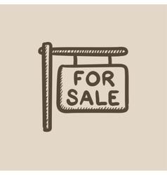 For sale placard sketch icon vector