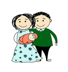 funny sketch of a happy family vector image