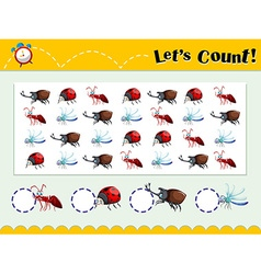 Game template with counting insects vector