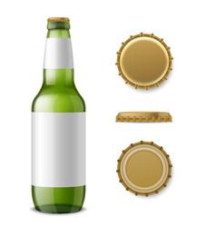 glass beer bottle mockup realistic 3d drink vector image
