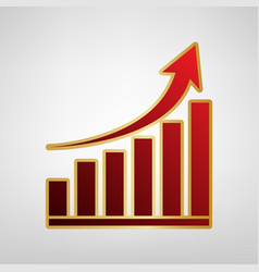 growing graph sign red icon on gold vector image